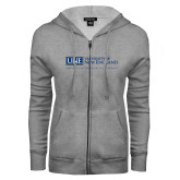 ENZA Ladies Grey Fleece Full Zip Hoodie-University Mark Flat