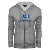 ENZA Ladies Grey Fleece Full Zip Hoodie-University Mark Stacked