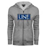 ENZA Ladies Grey Fleece Full Zip Hoodie-University Mark UNE