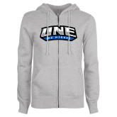 ENZA Ladies Grey Fleece Full Zip Hoodie-Hockey