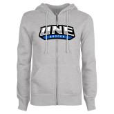 ENZA Ladies Grey Fleece Full Zip Hoodie-Soccer