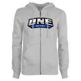 ENZA Ladies Grey Fleece Full Zip Hoodie-Rugby