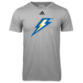 Adidas Climalite Sport Grey Ultimate Performance Tee-Lightning Bolt