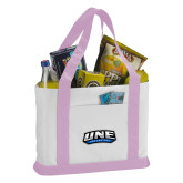 Contender White/Pink Canvas Tote-UNE Nor Easters