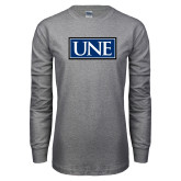 Grey Long Sleeve T Shirt-University Mark UNE