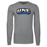 Grey Long Sleeve T Shirt-Hockey