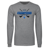 Grey Long Sleeve T Shirt-2017 Field Hockey Champions