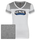 Ladies White/Heathered Nickel Juniors Varsity V Neck Tee-UNE Nor Easters