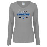 Ladies Grey Long Sleeve V Neck Tee-2017 Field Hockey Champions