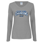 Ladies Grey Long Sleeve V Neck T Shirt-Tier Two Champions - Rugby 2017