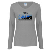 Ladies Grey Long Sleeve V Neck T Shirt-2017 Womens Cross Country Champions