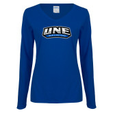 Ladies Royal Long Sleeve V Neck T Shirt-UNE Nor Easters