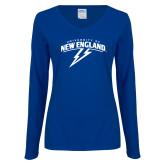 Ladies Royal Long Sleeve V Neck T Shirt-University of New England