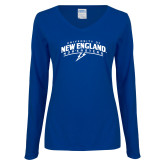 Ladies Royal Long Sleeve V Neck T Shirt-University of New England Nor Easters