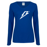 Ladies Royal Long Sleeve V Neck T Shirt-Lightning Bolt