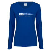 Ladies Royal Long Sleeve V Neck T Shirt-University Mark Flat