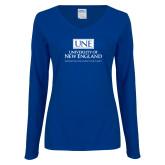 Ladies Royal Long Sleeve V Neck T Shirt-University Mark Stacked