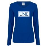 Ladies Royal Long Sleeve V Neck T Shirt-University Mark UNE