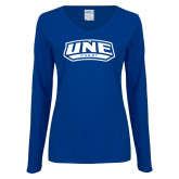 Ladies Royal Long Sleeve V Neck T Shirt-Rugby