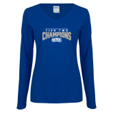 Ladies Royal Long Sleeve V Neck T Shirt-Tier Two Champions - Rugby 2017