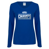 Ladies Royal Long Sleeve V Neck T Shirt-2017 Womens Cross Country Champions