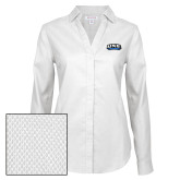Ladies Red House Diamond Dobby White Long Sleeve Shirt-UNE Nor Easters