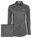 Ladies Grey Tonal Pattern Long Sleeve Shirt-UNE Nor Easters