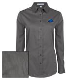 Ladies Grey Tonal Pattern Long Sleeve Shirt-Cloud