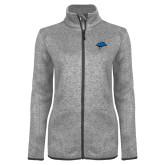 Grey Heather Ladies Fleece Jacket-Cloud