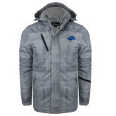 Grey Brushstroke Print Insulated Jacket-Cloud