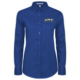 Ladies Royal Twill Button Down Long Sleeve-UNE Nor Easters