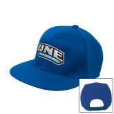 Royal Flat Bill Snapback Hat-UNE Nor Easters
