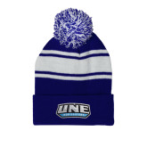 Royal/White Two Tone Knit Pom Beanie with Cuff-UNE Nor Easters