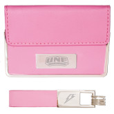 Business Card Case and Key Ring Set Pink-UNE Nor Easters Engraved