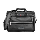 Wenger Swiss Army Leather Black Double Compartment Attache-NAVS Debossed