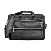 Wenger Swiss Army Leather Black Double Compartment Attache-Glen Eyrie - Flat Deboss
