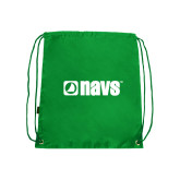 Nylon Kelly Green Drawstring Backpack-NAVS
