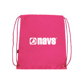 Nylon Pink Drawstring Backpack-NAVS