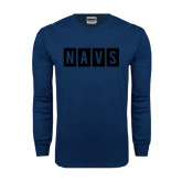 Navy Long Sleeve T Shirt-NAVS Block Reverse