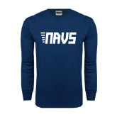 Navy Long Sleeve T Shirt-NAVS Block Leaning Font w/Tails