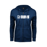 ENZA Ladies Navy Fleece Full Zip Hoodie-NAVS