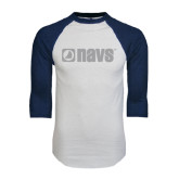 White/Navy Raglan Baseball T-Shirt-NAVS