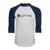 White/Navy Raglan Baseball T-Shirt-Glen Eyrie - Flat