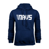 Navy Fleece Hoodie-NAVS Block Leaning Font w/Tails