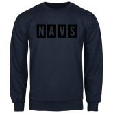 Navy Fleece Crew-NAVS Block Reverse