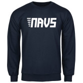Navy Fleece Crew-NAVS Block Leaning Font w/Tails