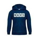 Youth Navy Fleece Hoodie-NAVS Block Reverse