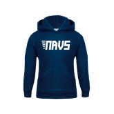 Youth Navy Fleece Hoodie-NAVS Block Leaning Font w/Tails