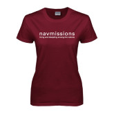 Ladies Maroon T Shirt-Navmissions