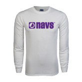White Long Sleeve T Shirt-NAVS